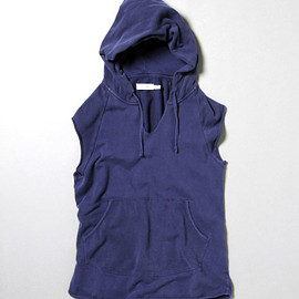 nonnative - DWELLER HOODED VEST - COTTON SWEAT OVERDYED