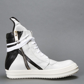 RICK OWENS - BLACK AND WHITE HIGH TOP SNEAKERS