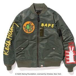 A BATHING APE, KEITH HARING - MA-1ジャケット