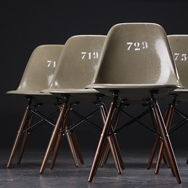 Eames - Eames army-green shell chairs