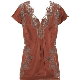 DOLCE&GABBANA -  Lace-trimmed silk-satin blouse
