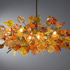Flowersinlight - Orange flowers Hanging chandeliers