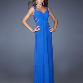 Straps V-neck Laced Sheer Back Chiffon Prom Dress PD2681