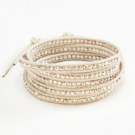 Cream Pearl Graduated Wrap Bracelet with Gold Vermeil on Natural Brown Leather