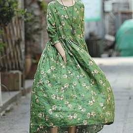 Long dress, Flower dress - Maxi dress in green, blue Long Linen dress, women Long dress, Flower dress, floor dress