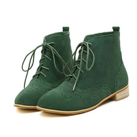 shoes - Image of [grxjy5190098]European Style Retro Lace-up Pure Color Booties