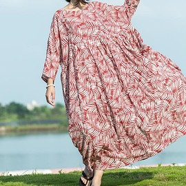 Women long Dresses - Red maxi dress cotton, Women long Dresses, Oversized cotton long dress, Pocket Dresses