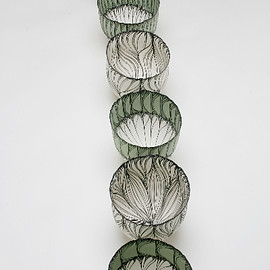 Cheryl Malone - Petal Sequence Series Vessel,2007,200x200mm, coiled porcelain