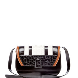 PROENZA SCHOULER - SS2015 Black Shiny Calf, Chalky Python, And Black Embossed Croc U Bag