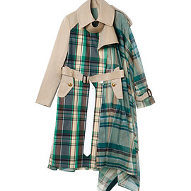 sacai - Check Organza Coat