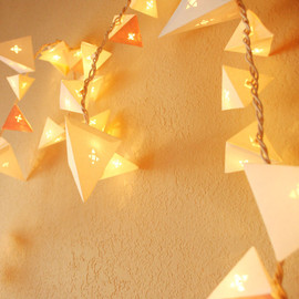 Cream Paper Pyramid Light Garland with Geometric Die Cuts - Long Strand (32ft)