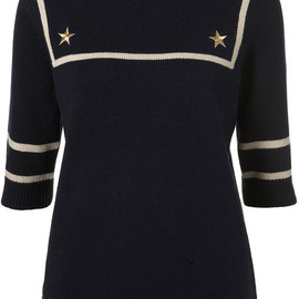TOPSHOP - Knitted Sailor Style Jumper in Navy