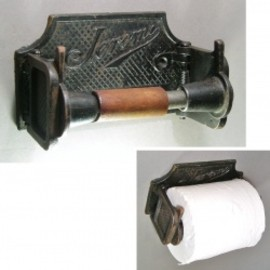 JEROME CO. N.Y. - 1890-1910's Cast Iron&Wood Toilet Paper Holder