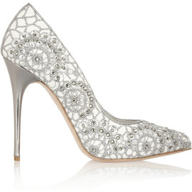 Alexander McQueen - Crystal-embellished embroidered suede pumps