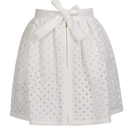 FENDI - LASER-CUT COTTON-SILK LATTICE SKIRT