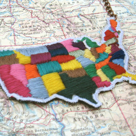 ilgattoselvatico - Map of USA Hand Embroidered Necklace
