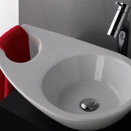 Bathroom Sink with a Looped Towel Rail
