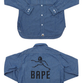 A BATHING APE - SKULL WALKER CHAMBRAY SH