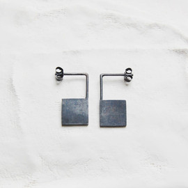 Ag.Jc - Oxidized silver geometrics pendants earrings #13