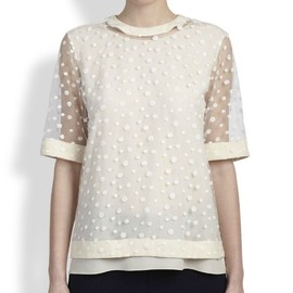 chloe - Embroidered polka-dot tulle top