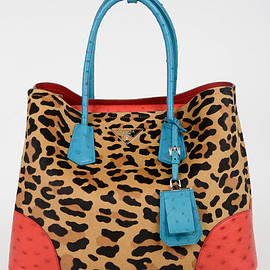 PRADA - Animal Printed Ponyskin Tote Bag with Ostrich Leather Details