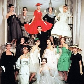 Yves Saint Laurent and the house models of Maison Dior, spring 1958.