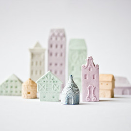 Clay Architecture Set - Ceramic clay houses by Artisanie Europe - pastel colors easter colors bright spring colors wedding favors