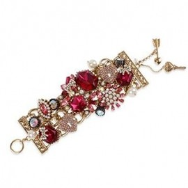 BETSEY JOHNSON - NYコレクションブランド【2012AW新作】☆Betsey Johnson☆Gold Tone Crystal Gem Wide Toggle Bracelet 1