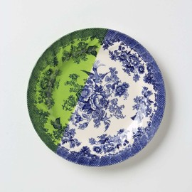 Anthropologie - Dipped Toile Dessert Plate, Green Motif