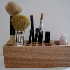 Natural Rustic Mahogany Wood Desk Organizer Office Organizer Pencil Small Tool Caddy Holder or Makeup Organizer - Come Sempre