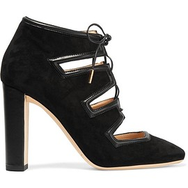 Jimmy Choo - Latch leather-trimmed suede pumps