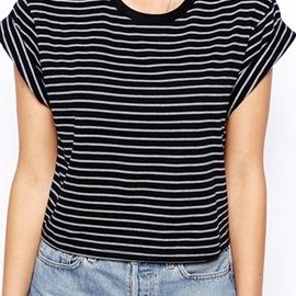 asos - Image 3 of ASOS Cropped Boyfriend T-Shirt with Roll Sleeve in Stripe