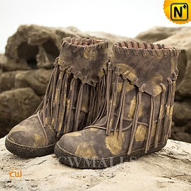 cwmalls - Ladies Fringe Leather Flat Booties CW305571