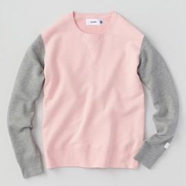 ALOYE - Study - Color Block Sweat Shirt (Pink-Gray)