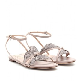 VALENTINO - EMBELLISHED BUTTERFLY LEATHER SANDALS