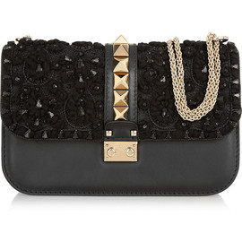 VALENTINO - Glam Lock embellished leather shoulder bag