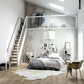 amazingly beautiful bedroom loft (via Pinterest)