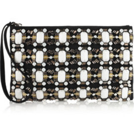 MARNI - Embellished woven canvas clutch