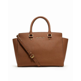 Tan MICHAEL Michael Kors Large Selma Top-Zip Satchel