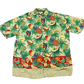 VINTAGE - Vintage 90s Pierre Cardin Tropical Fruits Rayon Hawaiian Shirt Mens Size Large