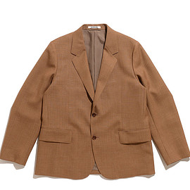 AURALEE - Wool Cupra Linen Cloth Jacket-Brown Check