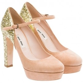 miu miu - Suede platform Mary Jane pump