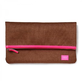 "HEAD PORTER - ""GRANADA"" CLUTCH BAG BROWN/PINK"