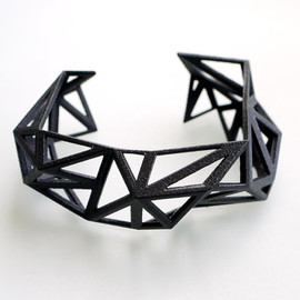 ArchetypeZ - spring fashion, black geometric cuff - Triangulated Cuff bracelet in Black. geometric jewelry 3d printed. modern statement jewelry