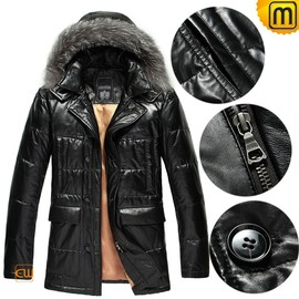 CWMALLS - Black Down Leather Jacket for Men CW848037