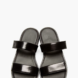 ANN DEMEULEMEESTER - Black Leather Velcro Strap Sandals
