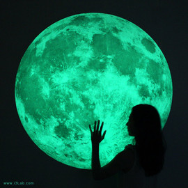 i3Lab - The world's largest Moonlight /XL-size, Clair De Lune (glow in the dark moon wall sticker-100cm)