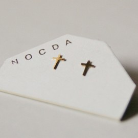 NOCDA - gold cross earring