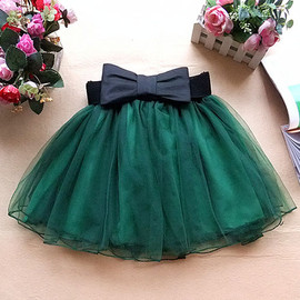 fashion - [grxjy560933]Bowknot Belt Layered Elastic Waist Mini Mesh Lace Skirt