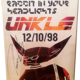 UNKLE - Rabbit In Your Headlight Promo Poster with James's sign